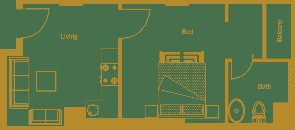 Zarkon Heights G-15 Islamabad Luxury Apartments One Bedroom - Floor Plan - FAH33M (1)