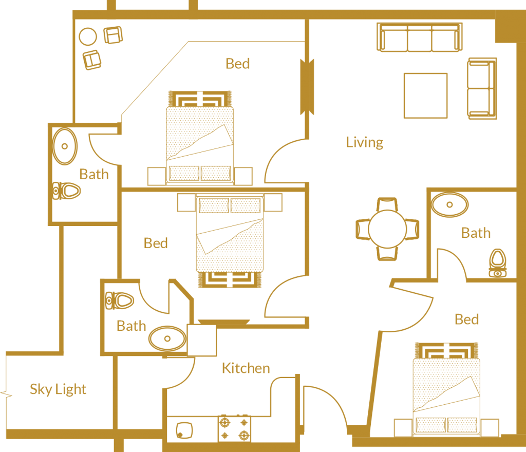 Zarkon Heights G-15 Islamabad Luxury Apartments Three Bedroom - Floor Plan - FAH33M (1)