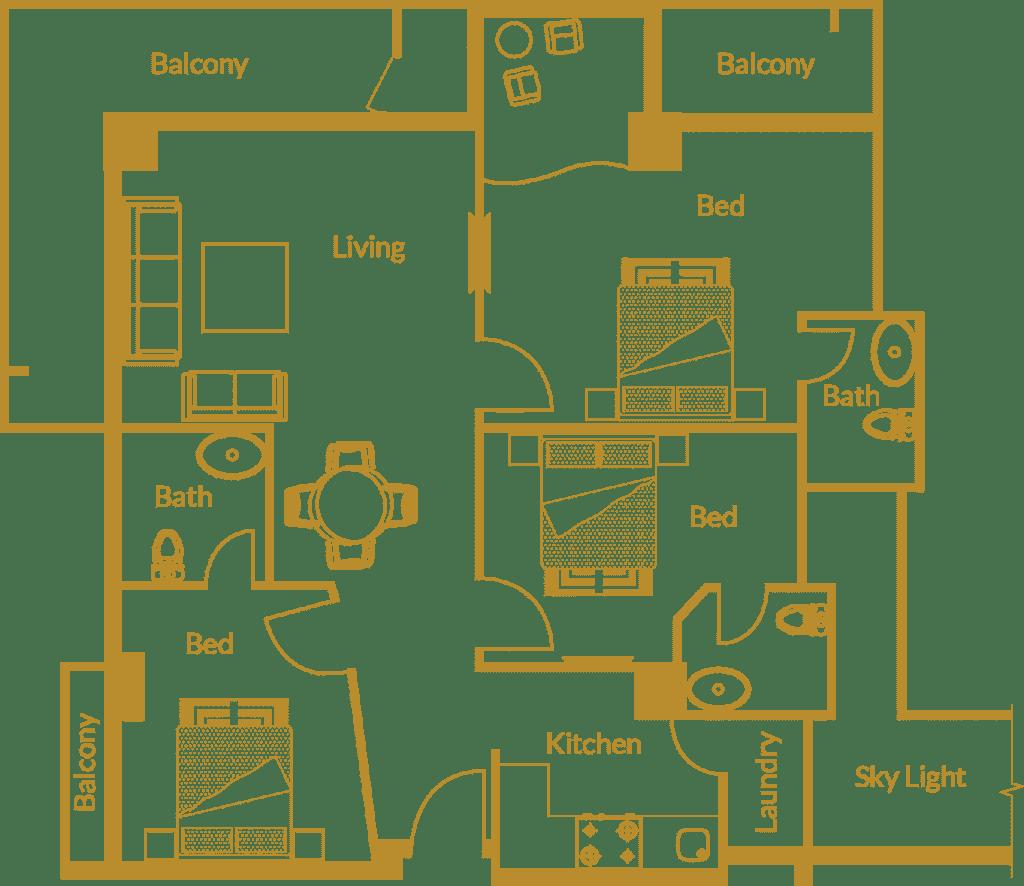 Zarkon Heights G-15 Islamabad Luxury Apartments Three Bedroom - Floor Plan - FAH33M (2)
