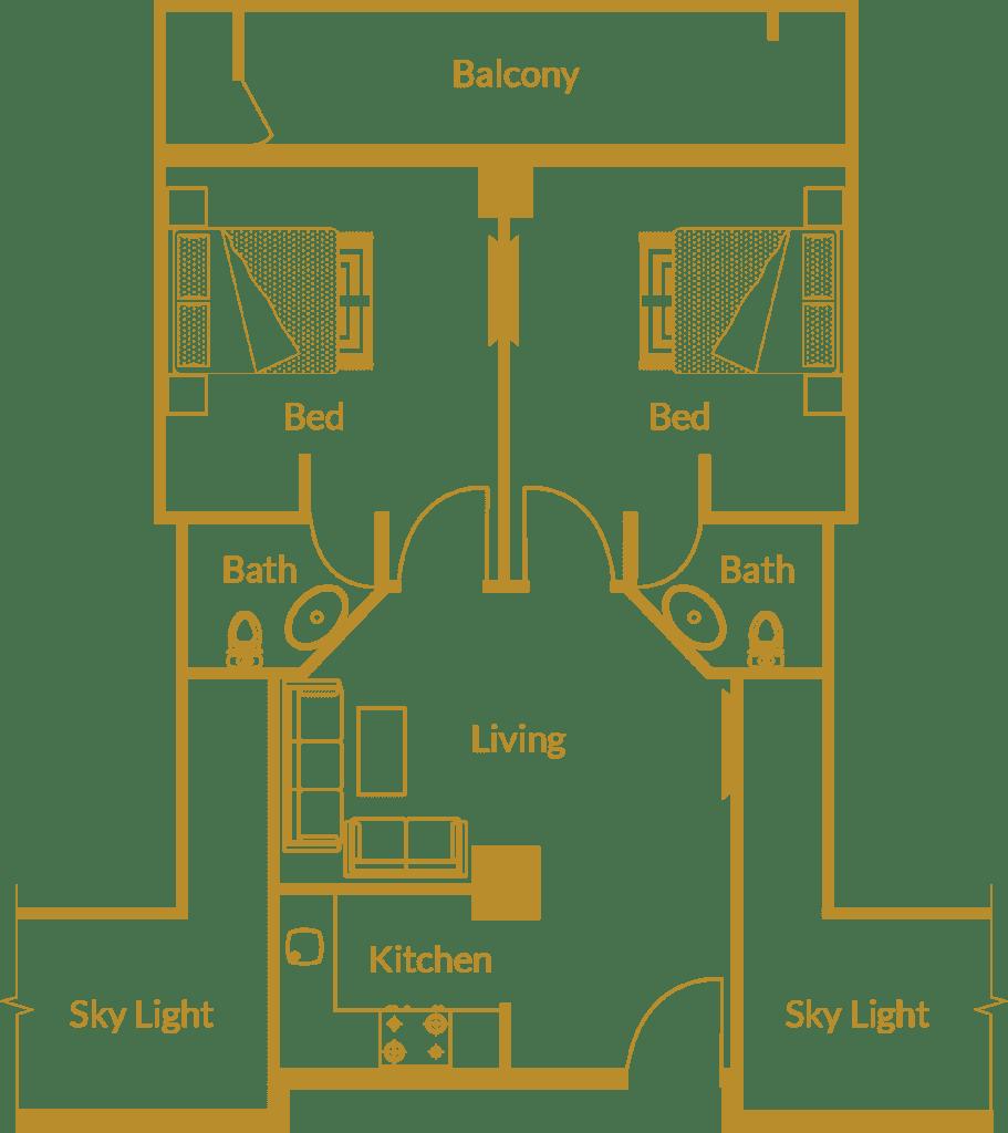 Zarkon Heights G-15 Islamabad Luxury Apartments Two Bedroom - Floor Plan - FAH33M (1)
