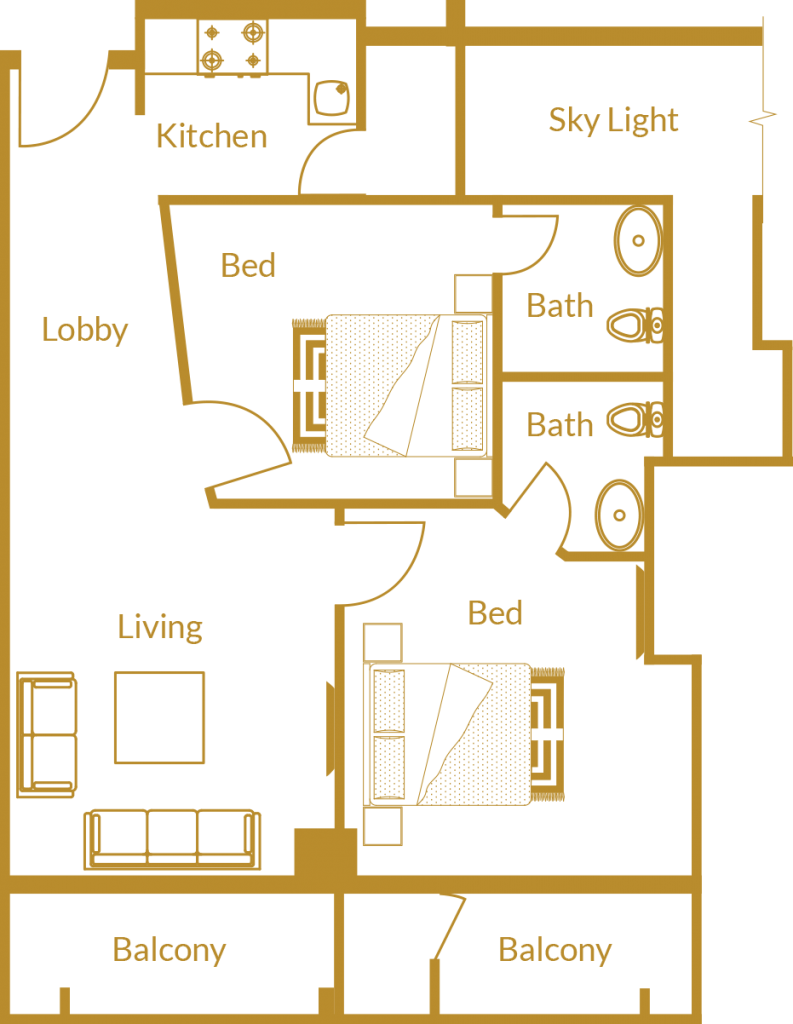 Zarkon Heights G-15 Islamabad Luxury Apartments Two Bedroom - Floor Plan - FAH33M (2)